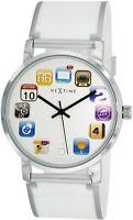Armbanduhr Unisex Silikon iphone Display Weiß Silber 6010wi Nextime Collection
