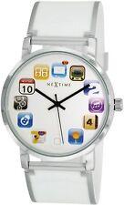 Armbanduhr Damen Silikon Weiß PAD Weiß Silber Weihnacht geschenk Neu modern