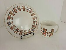 Action Bear Childs Cup & Plate Dinnerware Vintage Japan
