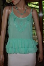 Wet Seal Aqua Turquoise Seafoam Cool Breezy Cotton Gauze Ruffle Top Sz M