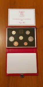 ROYAL MINT PROOF SET. Red Deluxe Leather Box 1987 Birthday Gift Coin Year Set.