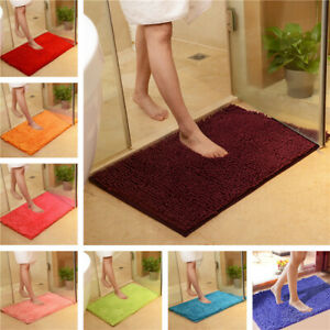 60*90cm Bathroom Carpet Mat Shaggy Chenille Bedroom Floor Mat Rug Anti-slip Rug