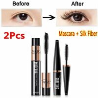 2Pcs 4D Silk Fiber Eyelash Mascara Extension Curl + Lash Mascara Kit Waterproof