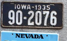 1935 White on Dark Blue Iowa License Plate 90 = Wapello County