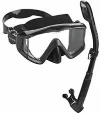New listing Cressi Panoramic Wide View Scuba Mask Dry Snorkel Set W Bag Black