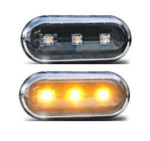 2x LED Clear Glass Side Indicator Black For VW Seat Skoda Ford