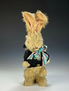 Large Old Antique Mohair Stuffed Rabbit with Glass Eyes