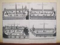 Montfaucon.Grabado original.Circos romanos.Paris 1730