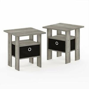 FURINNO Andrey End Table Nightstand Set 2-Pack French Oak Grey