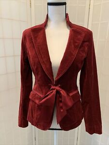 WHITE HOUSE BLACK MARKET Red Velvet Satin Ribbon Trim Blazer Jacket Sz 0 NWOT