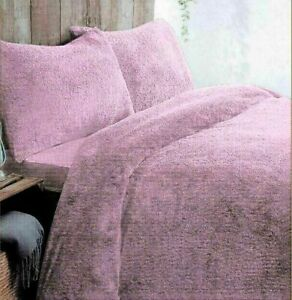Teddy Bear Fleece Duvet Quilt Cover Warm Luxury Fleece Bedding Set Blush Pink