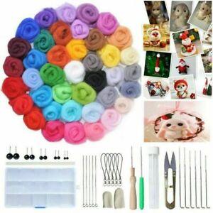 40 Farben Filzwolle mit Werkzeug Filznadeln Trockenfilzen Basteln Set DIY