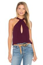 Free People Twist And Shout Keyhole Tank Top Wine  X-Small NWT