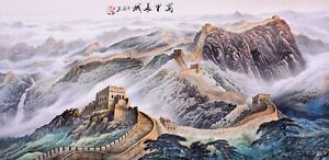 100% ORIENTAL FINE ART CHINA FAMOUS SANSUI WATERCOLOR PAINTING-The Great Wall