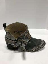 Circle G Corral Boots Womens Western Bootie Black Harness Leather Round Toe 8 M