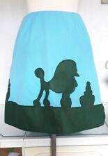Original Vintage Customised Aqua 1950s 1960s Skirt Size 10 Poodle Applique