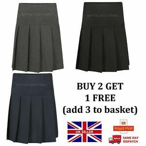 Girls Pleated School Skirt Drop Waist Grey Black Navy Ladies Ages 4-16 Size 14