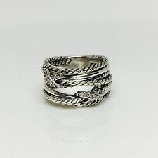 David Yurman Silver Double X Crossover Ring with Diamonds | SZ 6 | Authentic