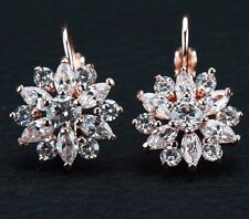 9K REAL ROSE GOLD FILLED  FLOWER HOOP EARRINGS MADE WITH SWAROVSKI CRYSTALS HE33