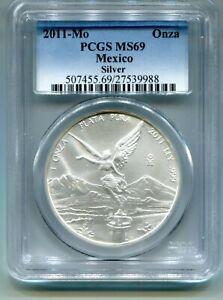 2012 Mo Mexico Libertad Silver Onza PCGS MS69 High Grade .999 Silver 1 oz Coin