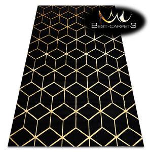 Modern Stylish Rug GLOSS 3D geometric, cube, glamour, black/gold Best Quality