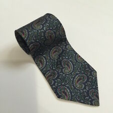 AIIV 100% Silk Designer Mens Neck Tie Blue Paisley Hand Fashioned From Italy