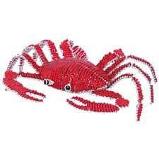 BEADWORX -  SMALL RED CRAB IN THE SEA - HAND CRAFTED ~ BEAD WORK - BEADED GIFT