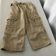 Cherokee boys 2T cargo pants tan elastic waist roll-up leg