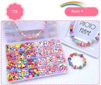 1Box Girls Children Acrylic Beads Jewelry Making Kit Kids Creative Craft Toy A-H