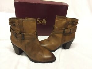Sofft  Women's Leather Boots Size 9 Ankle Boot  Side Zipper. Buckles and Straps