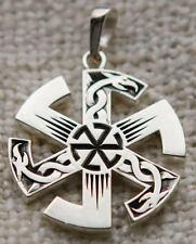 "Nestancruc Odinism Russian Whirling Slavic Black Sun Runic Pendant Necklace 1"""