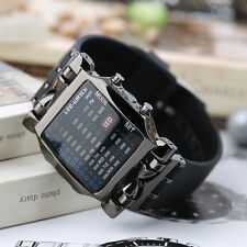 New Unisex Square Style Cool Colorful LED Digital Watch Binary Wrist Black LO