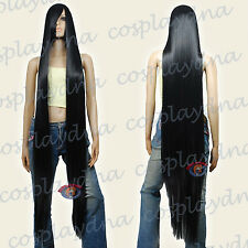 """60"""" Heat Resistant Black Extra Long Straight Cosplay Wigs with Side Bangs 81001"""