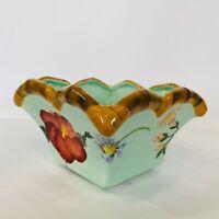 Silvestri Peggy Turchette Decoupage Vintage Square Bowl Floral Dragonfly Teal