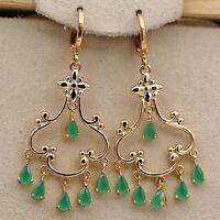 """18K Gold Filled - 2"""" Emerald Jade Bosnian L8irl Waterdrop Chandelier Earrings L8"""