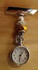 Watch nurse  fob watch  uniform pocket amber silver bead pin battery