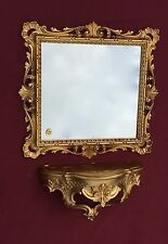 Wall Mirror with Console Baroque Gold Glass 38x36 Antique Bathroom Storage C533