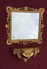 Espejo de pared con consola Barroco Oro Vidrio 38x36 Antiguo baño EMPLAZAMIENTO