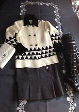 Chanel Thick Cashmere cardigan sweater jacket, Black & White-mint conditii FR36
