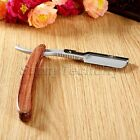 Barber Straight Edge Stainless Razor Folding Shaving Knife Wood Handle 10 Blades