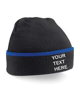 Personalised/Customised/Embroidered Teamwear Black/Royal Blue Beanie Hat