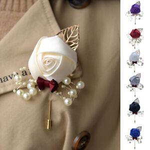 1PC Artificial Corsage Flower Women Bride Brooch Boutonniere Wedding Pearl Decor