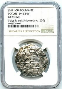1630 8-Reales Silver Spanish Coin, Spice Islands Shipwreck, NGC Graded Bolivia!