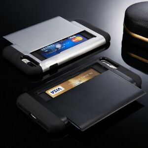 iPhone 5 6 7 8 Plus X / Xs XR Max Slide Wallet Card Case Pocket Cash CS + GLASS