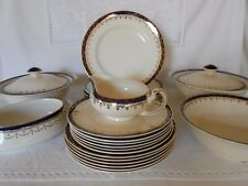 "Alfred Meakin ""BLEU DE ROI"" China Dinner Set Cobalt Blue Gold Gilt 23 Piece"