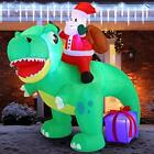 Joiedomi 6 FT Long Santa Ride on Dinosaur Inflatable with Build-in LEDs Blow ...