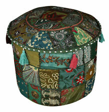 Handmade Decorative Poufs Cover Round Ottoman Pouffe Foot Stool