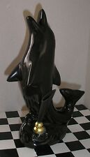 Vintage Dolphin Pen Holder Ceramic Figurine, H=18cm