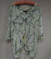 Gypsy Women's 100% Silk V-Neck Blouse Top 3/4 Sleeve High-Low Lime Size Small