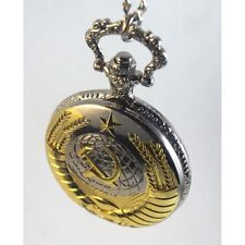 Communist Pocket Watch with Necklace Chain hammer and sickle